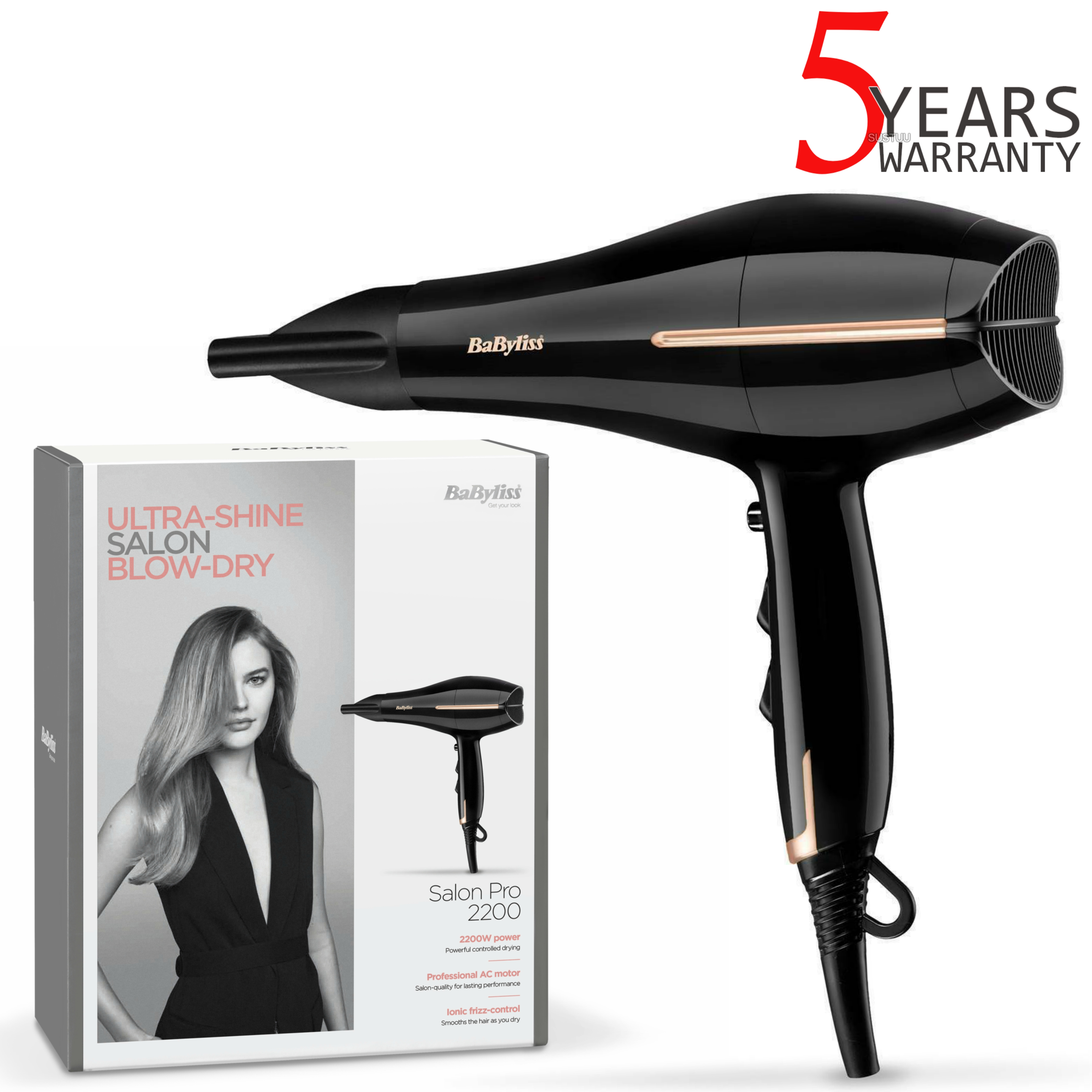 BaByliss 5552U Salon Pro Ionic Hair Dryer | 2200W | 2 Speeds & 3 Heat Settings | Black