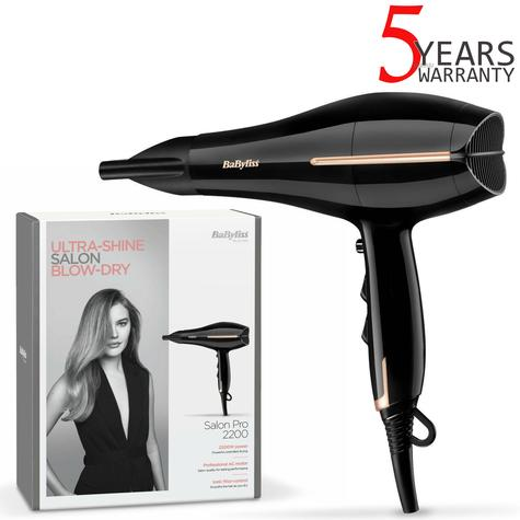 BaByliss 5552U Salon Pro Ionic Hair Dryer | 2200W | 2 Speeds & 3 Heat Settings | Black Thumbnail 1
