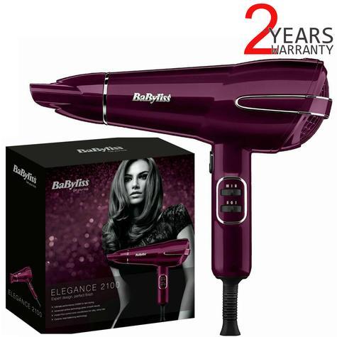 BaByliss Elegance 2100w Powerful Hair Dryer | 2-Metre Swivel Cord | Raspberry | 5560KU Thumbnail 1
