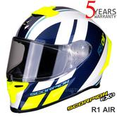 Scorpion Exo R1 Air Corpus Motorcycle Racing Full Face Helmet | White/Yellow | All Size