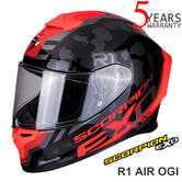 Scorpion Exo R1 Air Ogi  Black Red Motorcycle Racing Helmet | Full Face | All Sizes