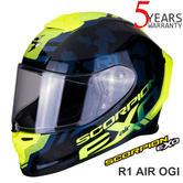 Scorpion Genuine Exo R1 Air Ogi  Black Yellow Motorcycle Racing Helmet | All Sizes