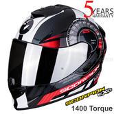 Scorpion Exo 1400 Air Torque Black Red FullFace Motorcycle/Bike Helmet | All Sizes
