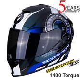 Scorpion Exo 1400 Air Torque Black Blue FullFace Motorcycle/Bike Helmet | All Sizes