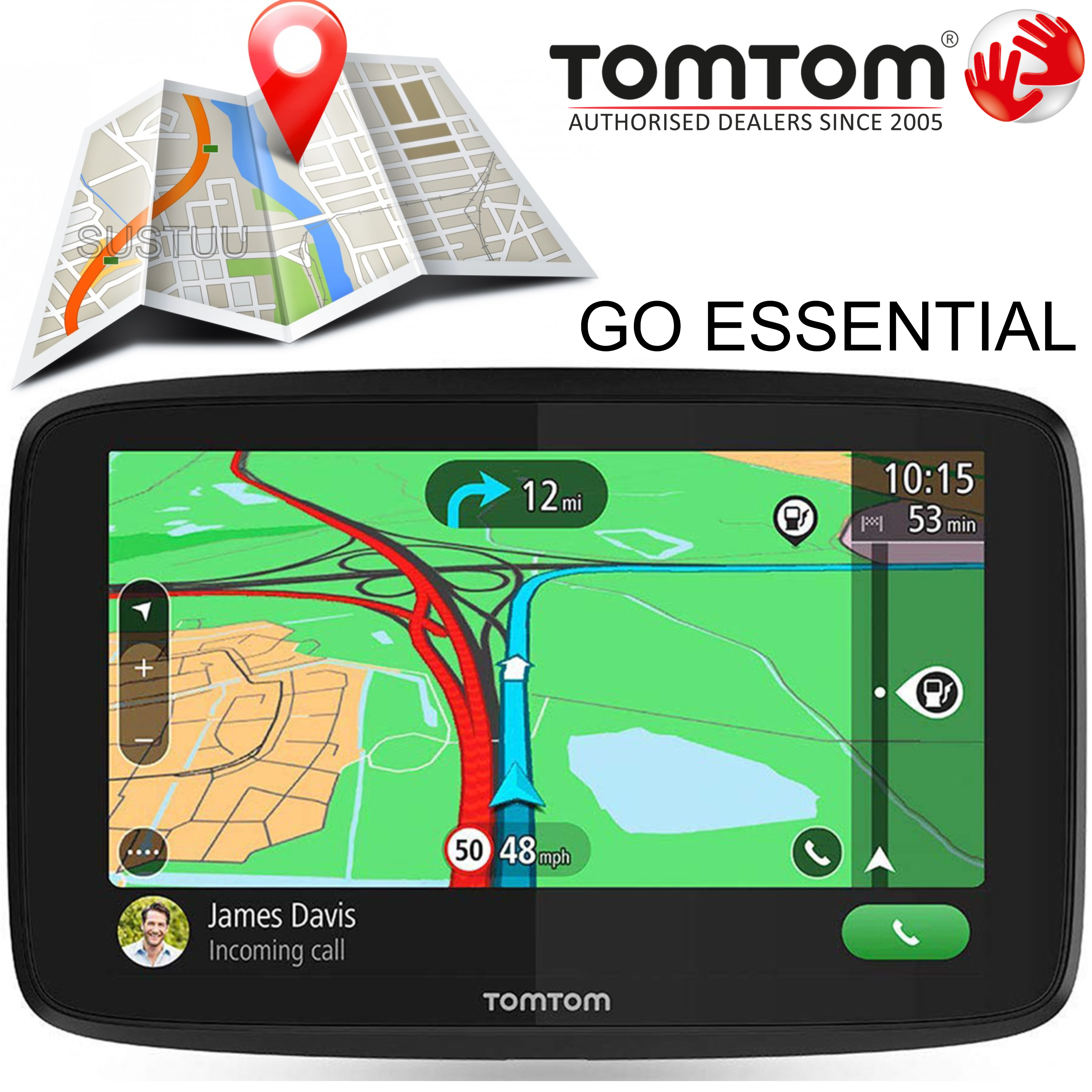 "TomTom Go Essential 5"" GPS Sat Nav | Lifetime Europe Maps+Traffic | Updates via WiFi"