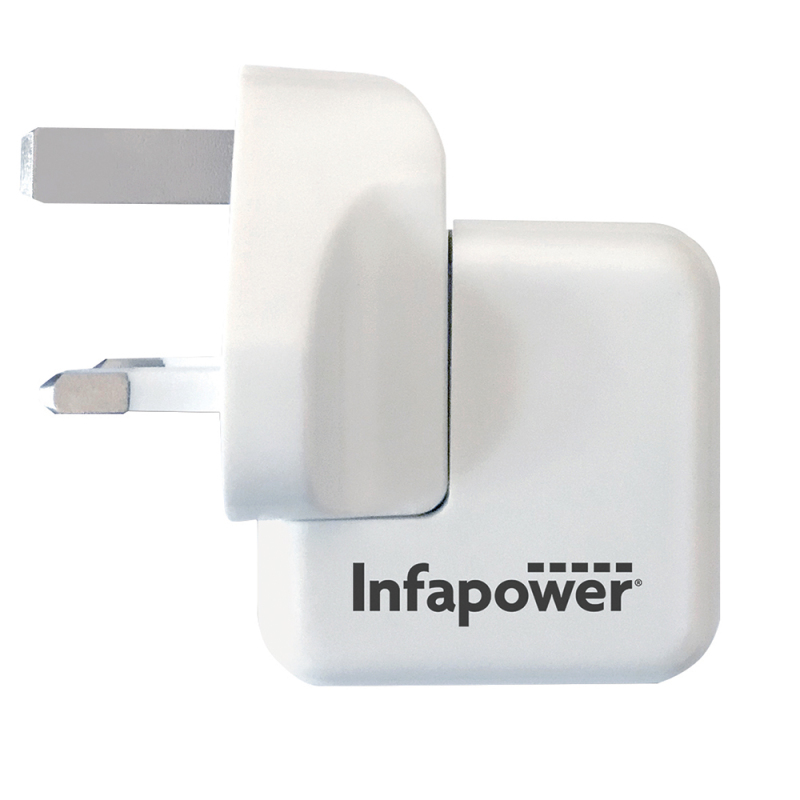 Infapower 5V 2.1A Fast USB Twin Mains Charger | 100?240v Worldwide Use | White | P041