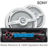 Sony MEX-M71BT Marine CD Receiver & MP1621 140W Speakers | Bluetooth | MP3 | USB | AUX | Radio