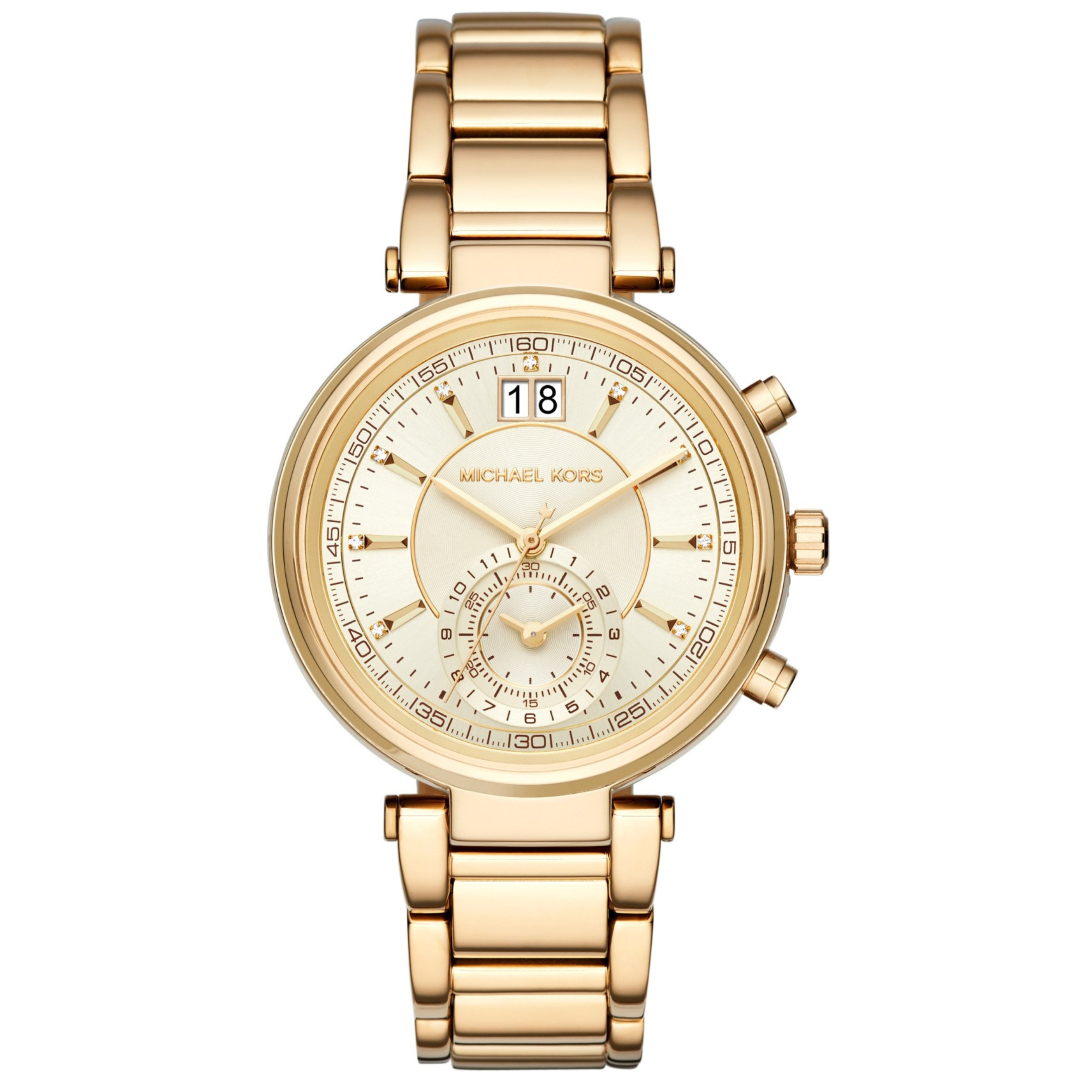 Michael Kors Sawyer Ladies Watch | Chronograph Gold Dial | Stainless Strap | MK6362