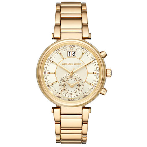 Michael Kors Sawyer Ladies Watch | Chronograph Gold Dial | Stainless Strap | MK6362 Thumbnail 1