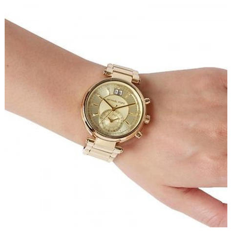 Michael Kors Sawyer Ladies Watch | Chronograph Gold Dial | Stainless Strap | MK6362 Thumbnail 3
