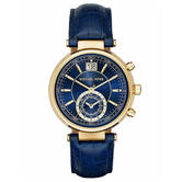 Michael Kors Sawyer Ladies Watch | Amber Blue Dial | Calfskin Leather Strap | MK2425