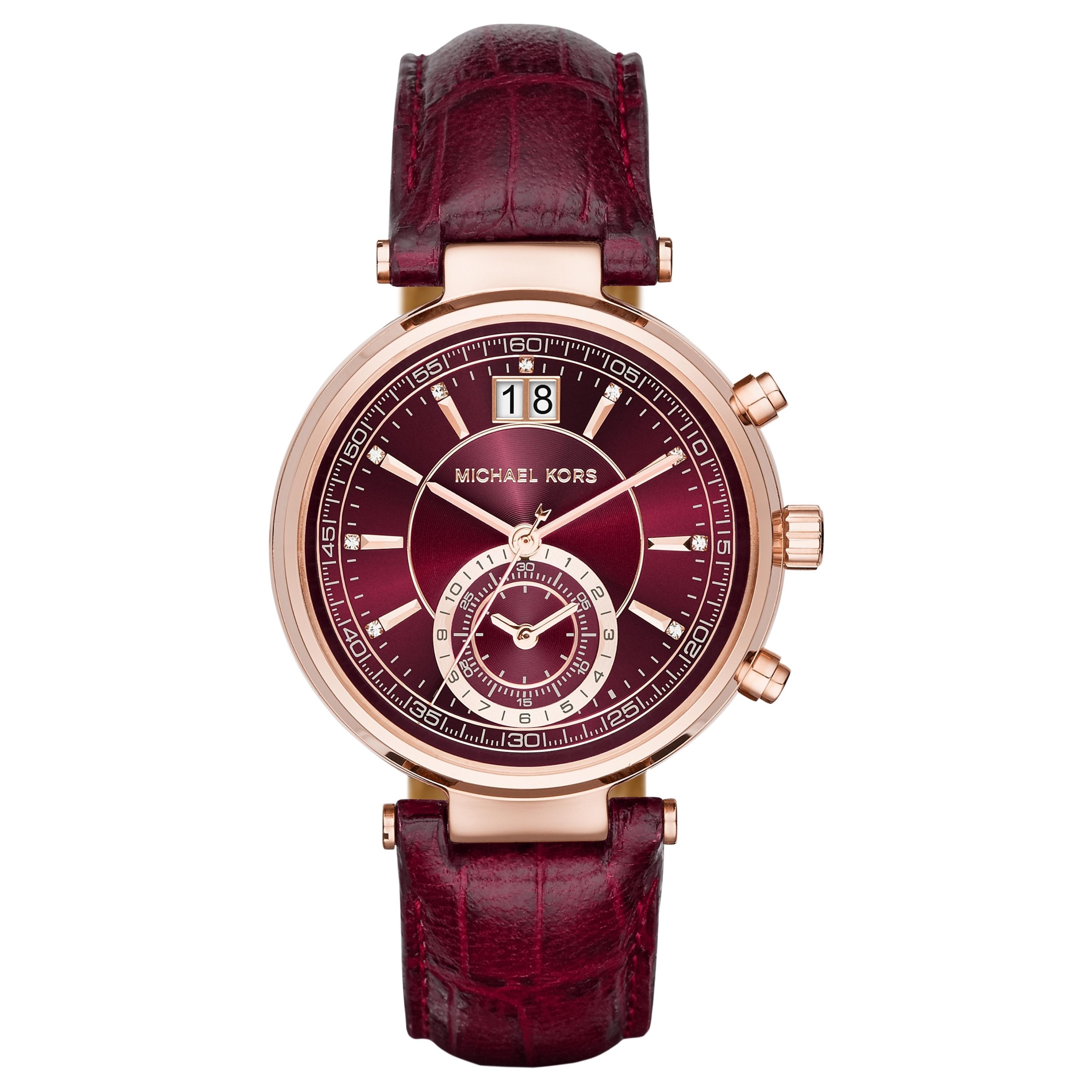 Michael Kors Sawyer Ladies Watch | Chrono Burgundy Dial | Merlot Leather Strap | MK2426
