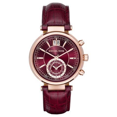 Michael Kors Sawyer Ladies Watch | Chrono Burgundy Dial | Merlot Leather Strap | MK2426 Thumbnail 1