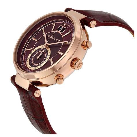 Michael Kors Sawyer Ladies Watch | Chrono Burgundy Dial | Merlot Leather Strap | MK2426 Thumbnail 2