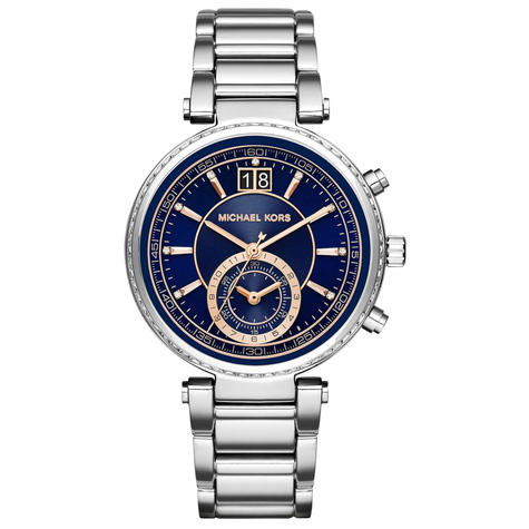 Michael Kors Sawyer Ladies Watch | Chronograph Blue Dial | Stainless Strap | MK6224 Thumbnail 1