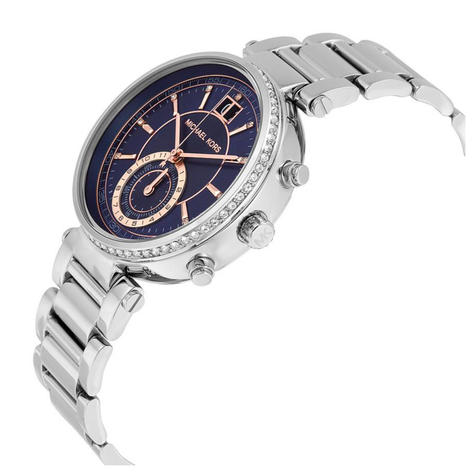 Michael Kors Sawyer Ladies Watch | Chronograph Blue Dial | Stainless Strap | MK6224 Thumbnail 2