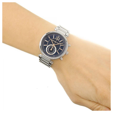 Michael Kors Sawyer Ladies Watch | Chronograph Blue Dial | Stainless Strap | MK6224 Thumbnail 4