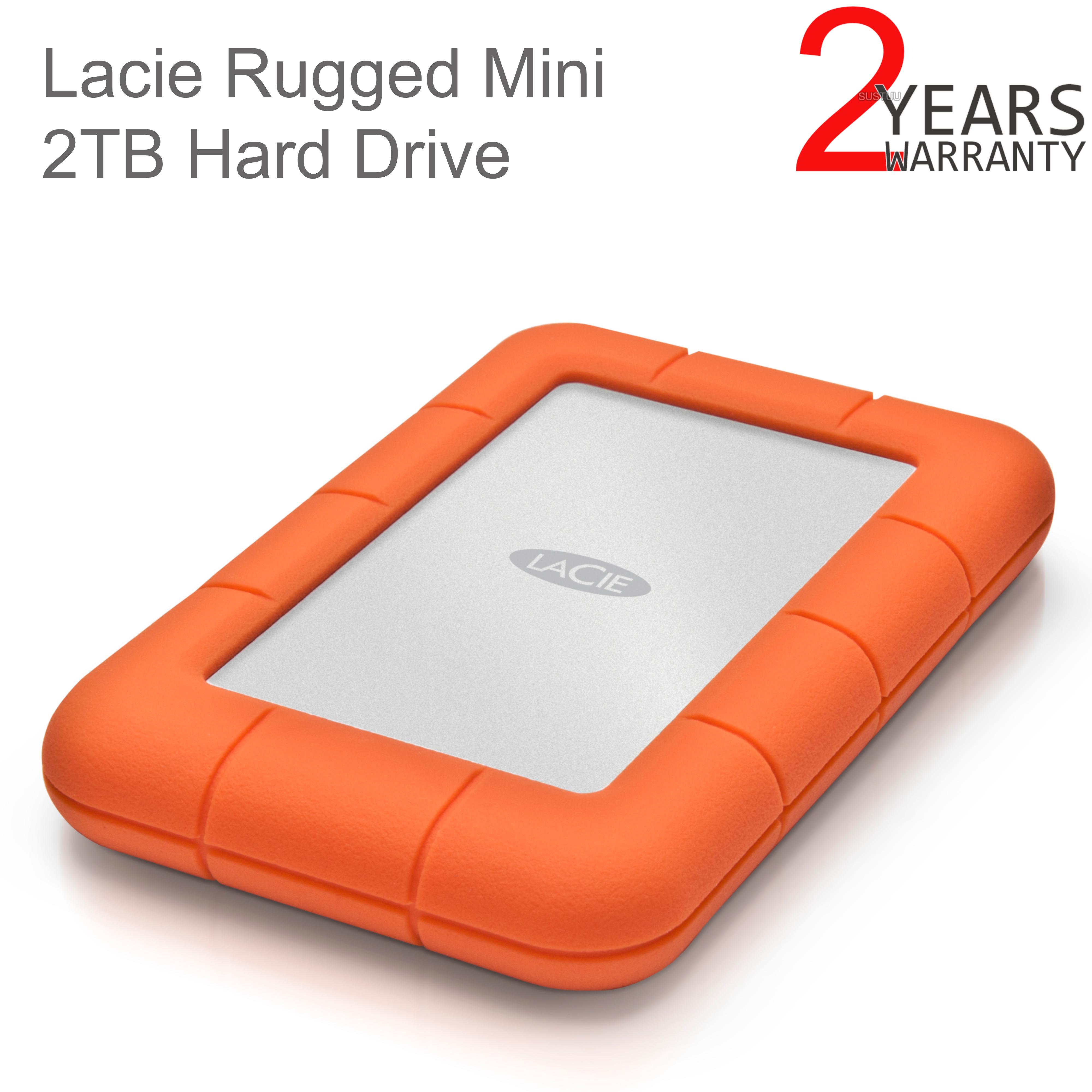 "Lacie Rugged Mini 2TB USB 3.0 2.5"" External Portable Hard Drive | For PC/ Mac | Storage"
