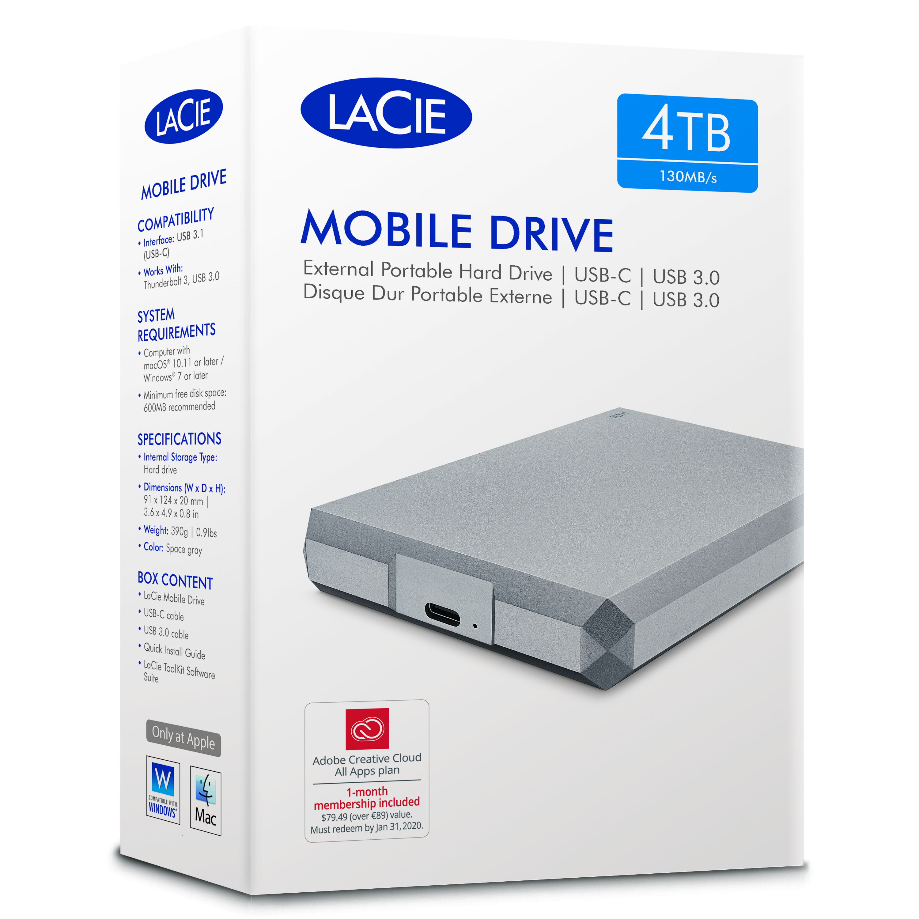 Lacie 4TB Mobile Drive | USB 3.0 Type-C Portable External Hard Drive | For PC & Mac | Storage Thumbnail 8