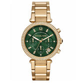 Michael Kors Parker Ladies Watch MK6263 | Chronograph Green Dial | Gold Tone Strap