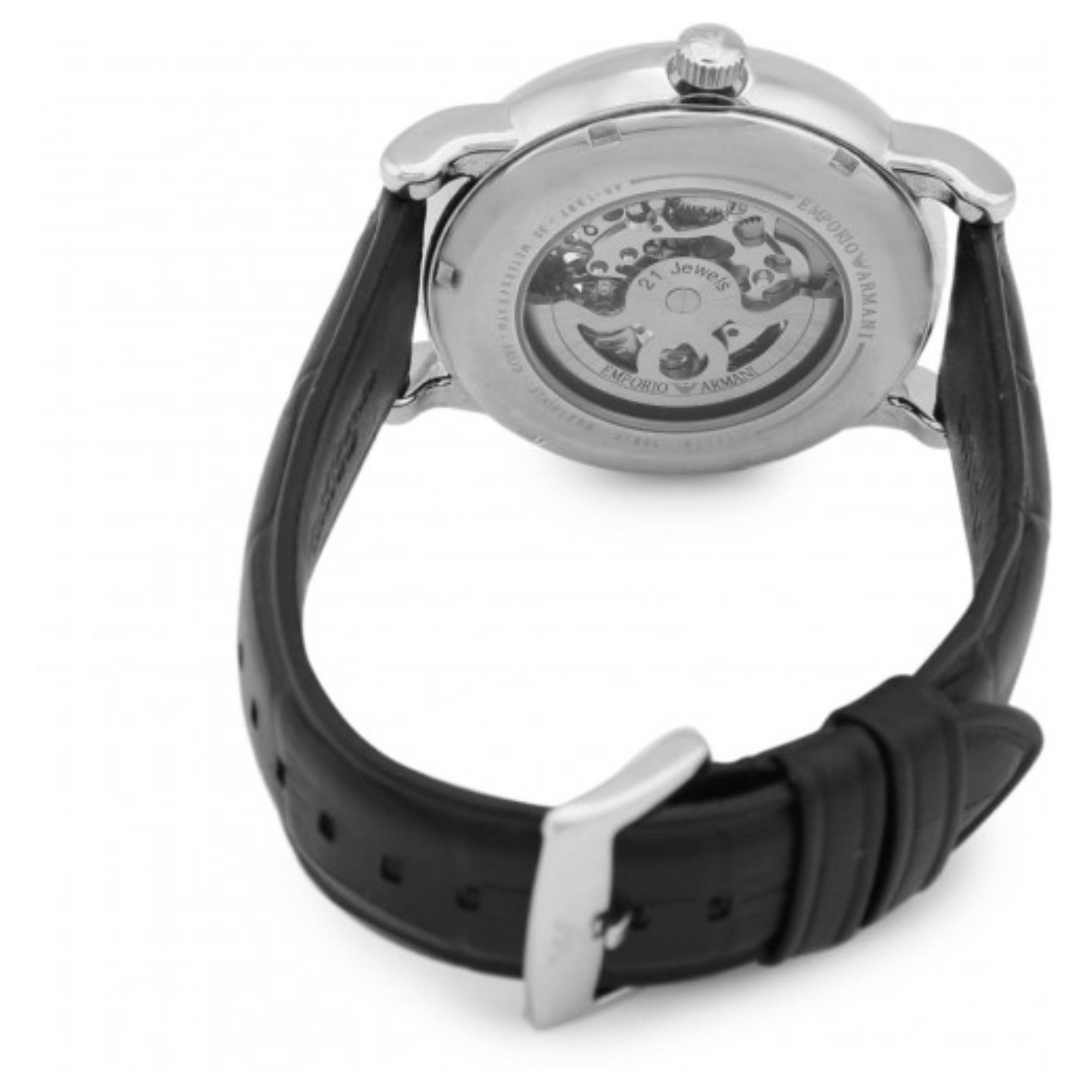 0763be355d5ca Emporio Armani Meccanico Men's Watch AR1997 | Silver Skeleton Dial | Black  Leather Strap Thumbnail 2