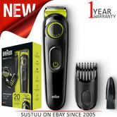 Braun BT3021 Beard Trimmer & Hair Clipper | Lifetime Sharp Blades | Black/Volt Green