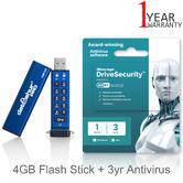 iStorage datAshur Pro 4GB Flash Stick/ Pen Memory Drive + 3yr Antivirus Licence