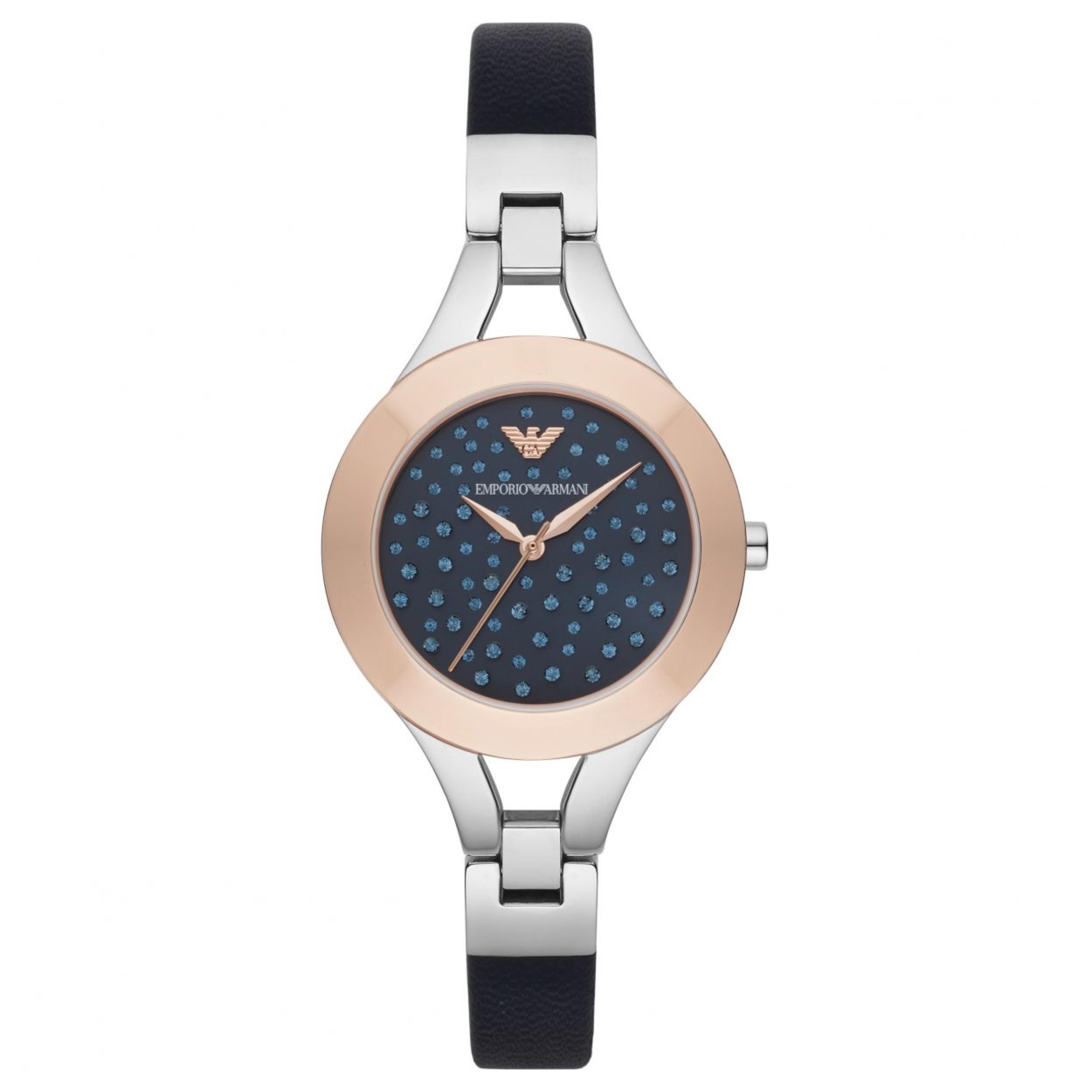 955abf45 Emporio Armani Chiara Ladies Watch AR7436   Crystal Pave Dial   Blue  Leather Strap