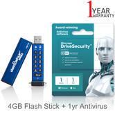 iStorage datAshur Pro 4GB Flash Stick/ Pen Memory Drive + 1yr Antivirus Licence