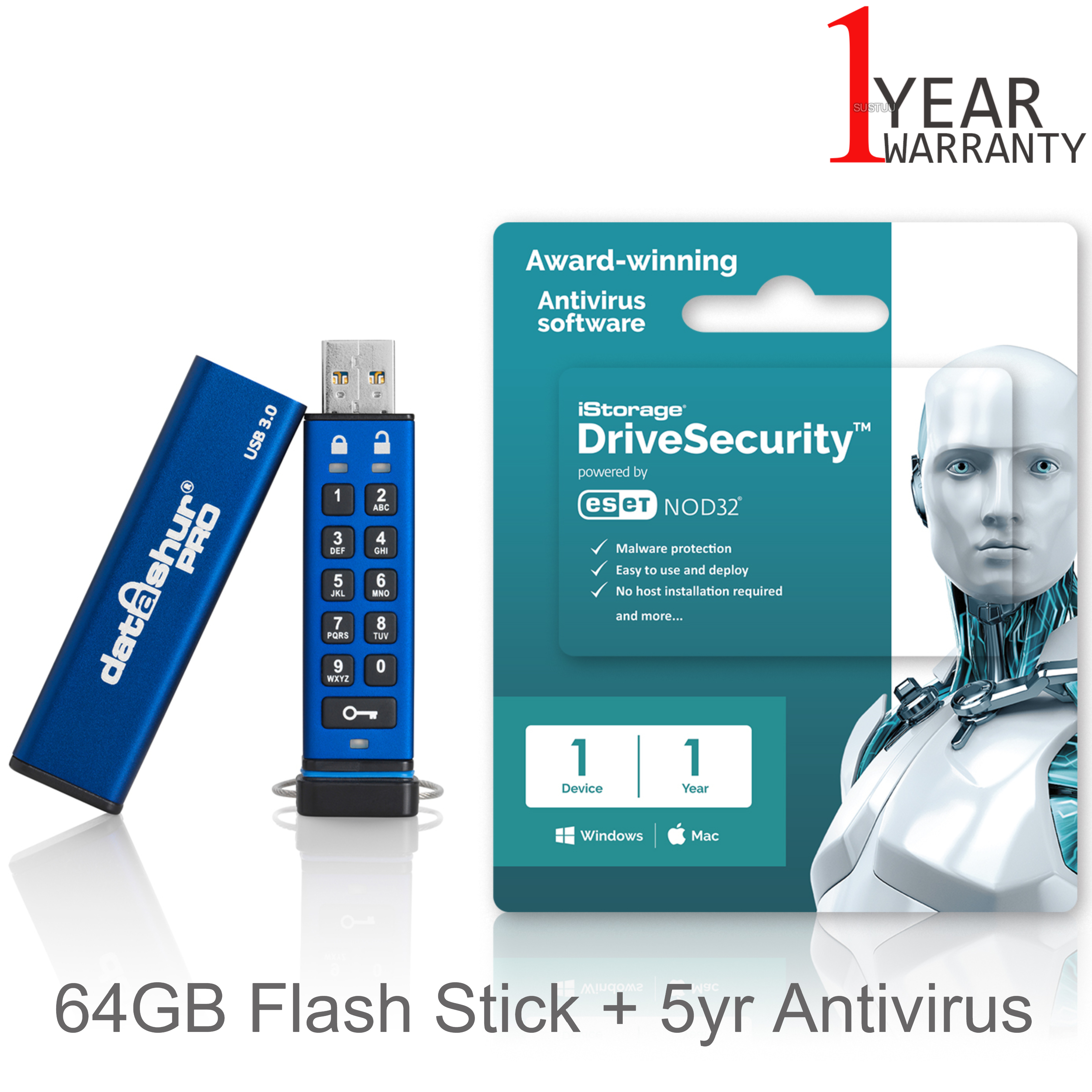 iStorage datAshur Pro 64GB Flash Stick/ Pen Memory Drive + 5yr Antivirus Licence