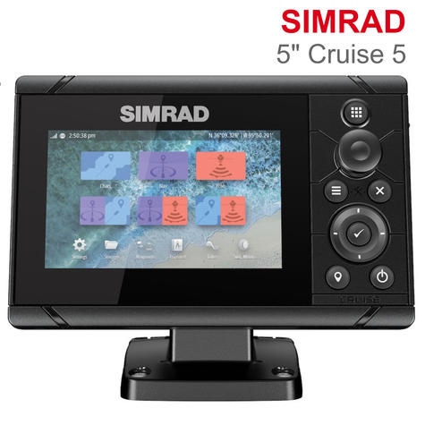 "Simrad Cruise 5 | 5"" Marine Plotter/Sounder with ROW Base Chart & 83/200 Transducer Thumbnail 1"