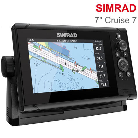 "Simrad Cruise 7 | 7"" Marine Plotter/Sounder with Base Chart & 83/200 Transducer Thumbnail 1"