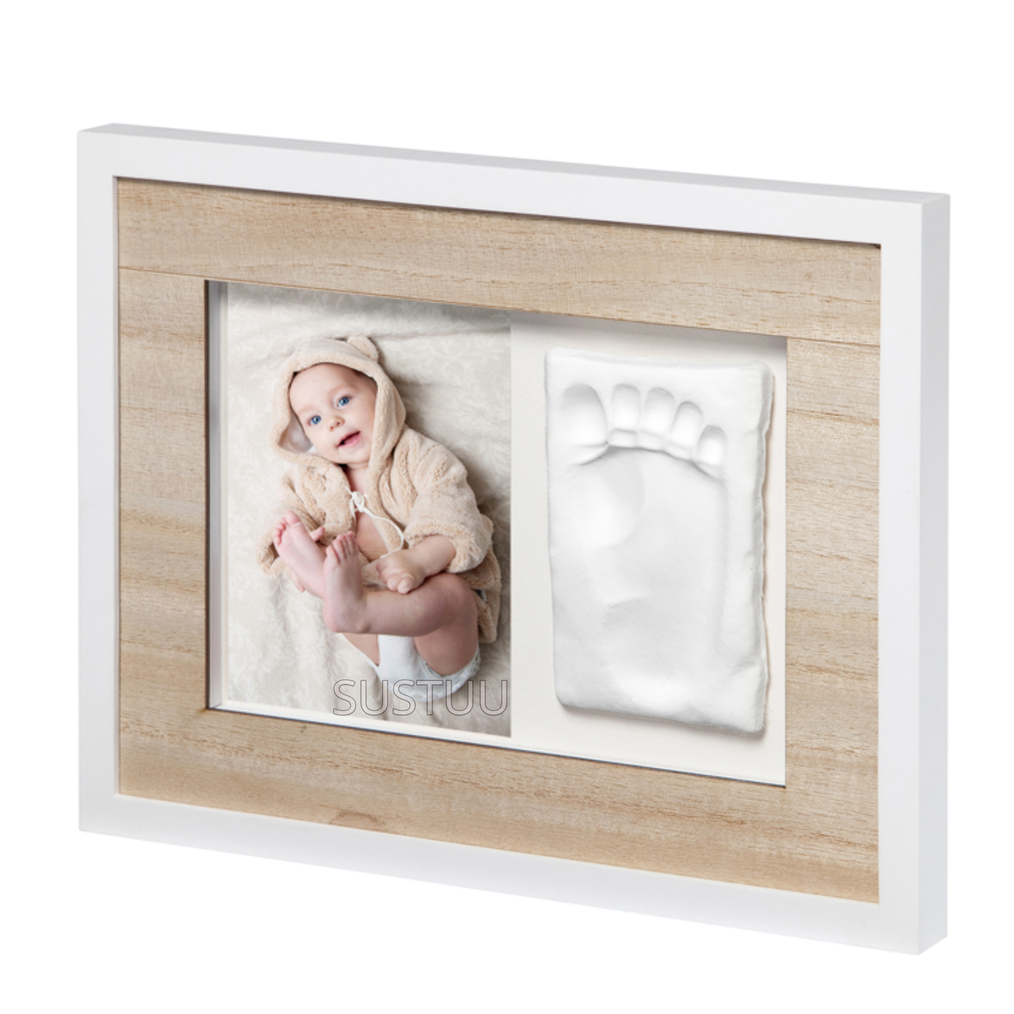Baby Art Tiny Style Touch Single Frame Wooden | Gift For Christening & Newborn