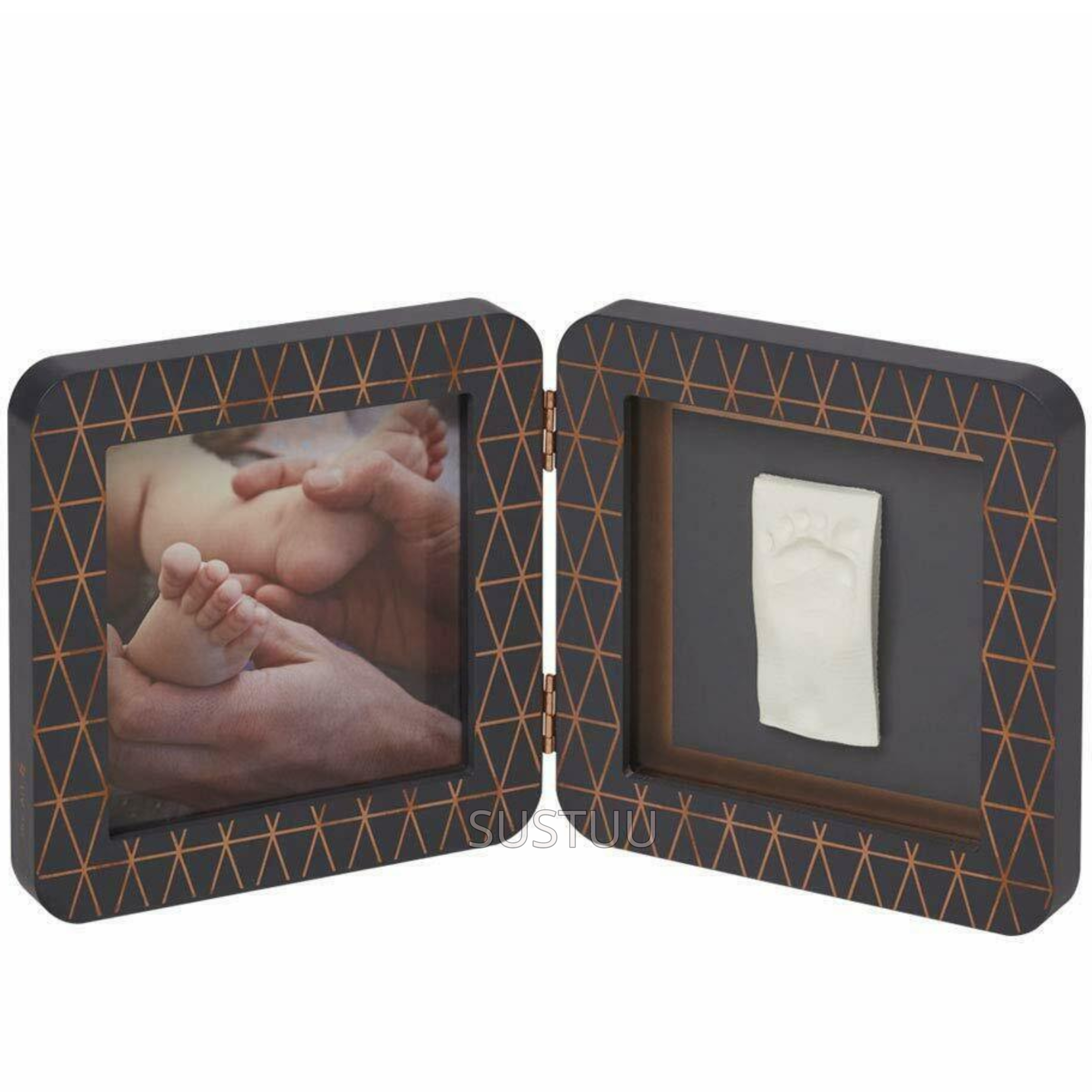 Baby Art My Baby Touch Rounded Single Print Frame Dark Grey with Copper | Giftware