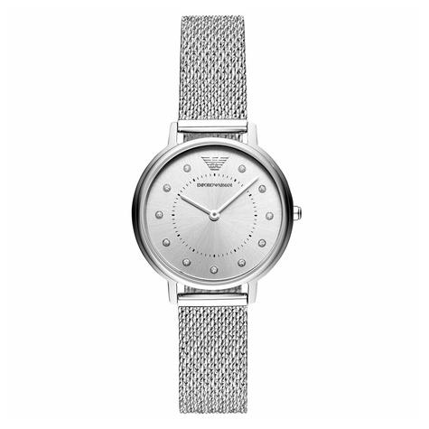 Emporio Armani Classic Ladies Watch AR11128 | Silver Dial | Mesh Stainless Strap Thumbnail 1