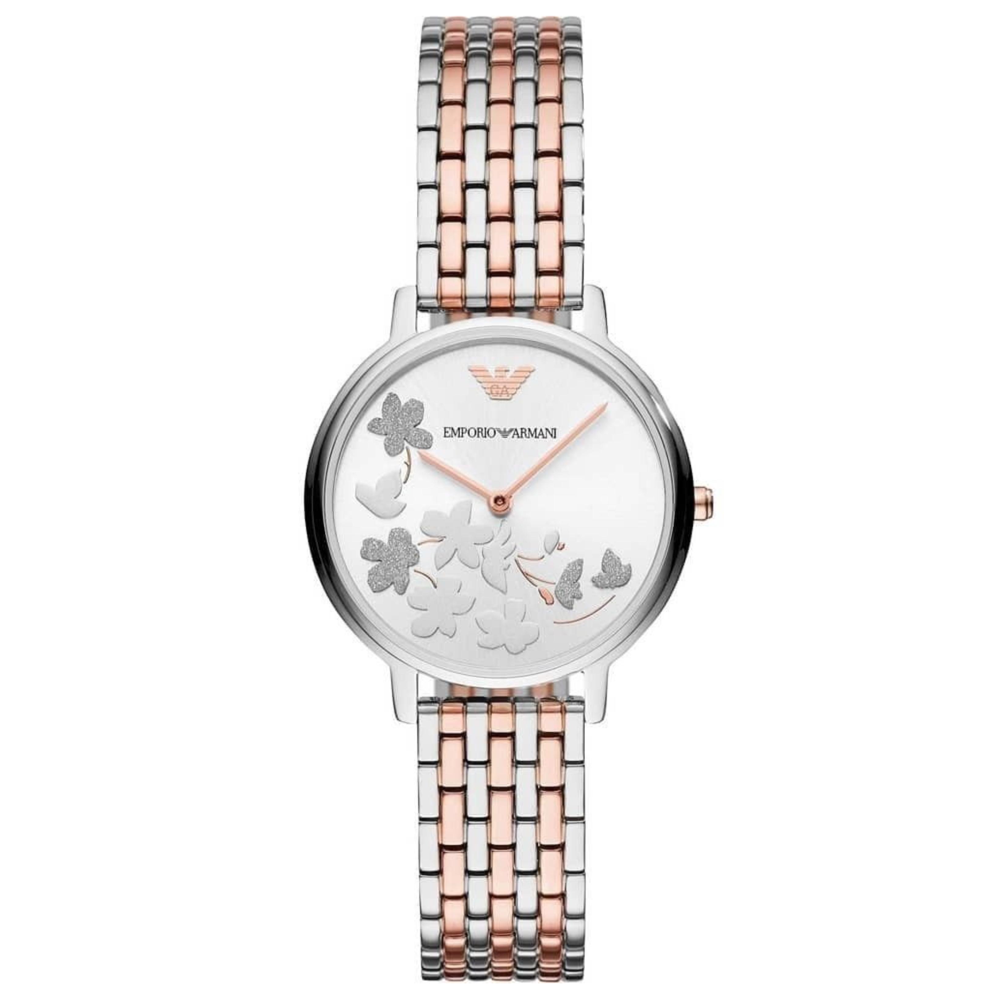 Emporio Armani Kappa Ladies Watch AR11113 | Floral Silver Dial | Dual Tone Strap
