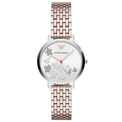 Emporio Armani Kappa Ladies Watch AR11113 | Floral Silver Dial | Dual Tone Strap Thumbnail 1
