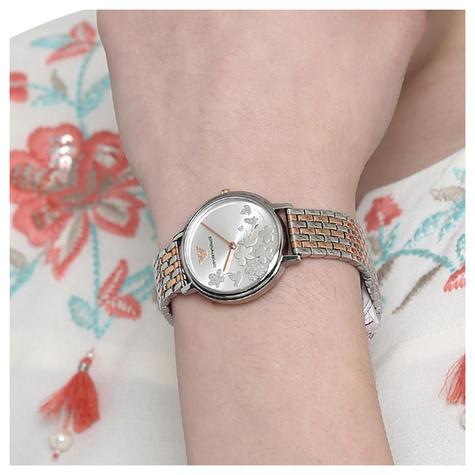 Emporio Armani Kappa Ladies Watch AR11113 | Floral Silver Dial | Dual Tone Strap Thumbnail 3