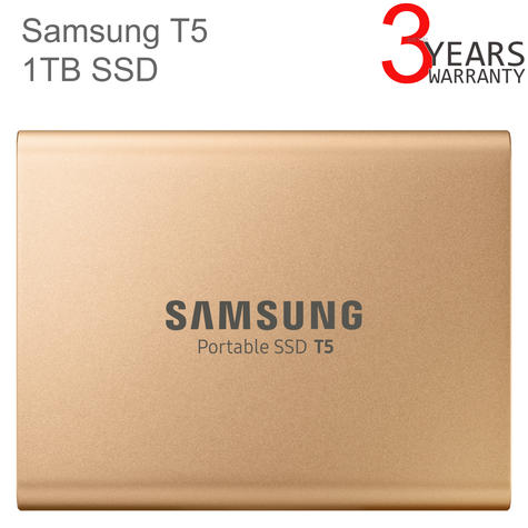 Samsung T5 1TB USB 3.1 Type-C Portable External SSD | Solid State Drive | For Desktops & Laptops | Rose Gold Thumbnail 1