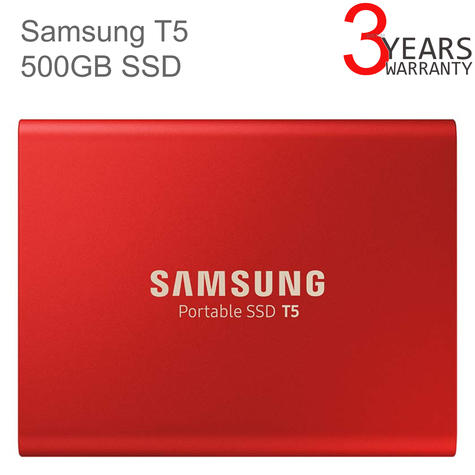 Samsung T5 500GB USB 3.1 Type-C Portable External SSD | Solid State Drive | For Desktops & Laptops | Red Thumbnail 1