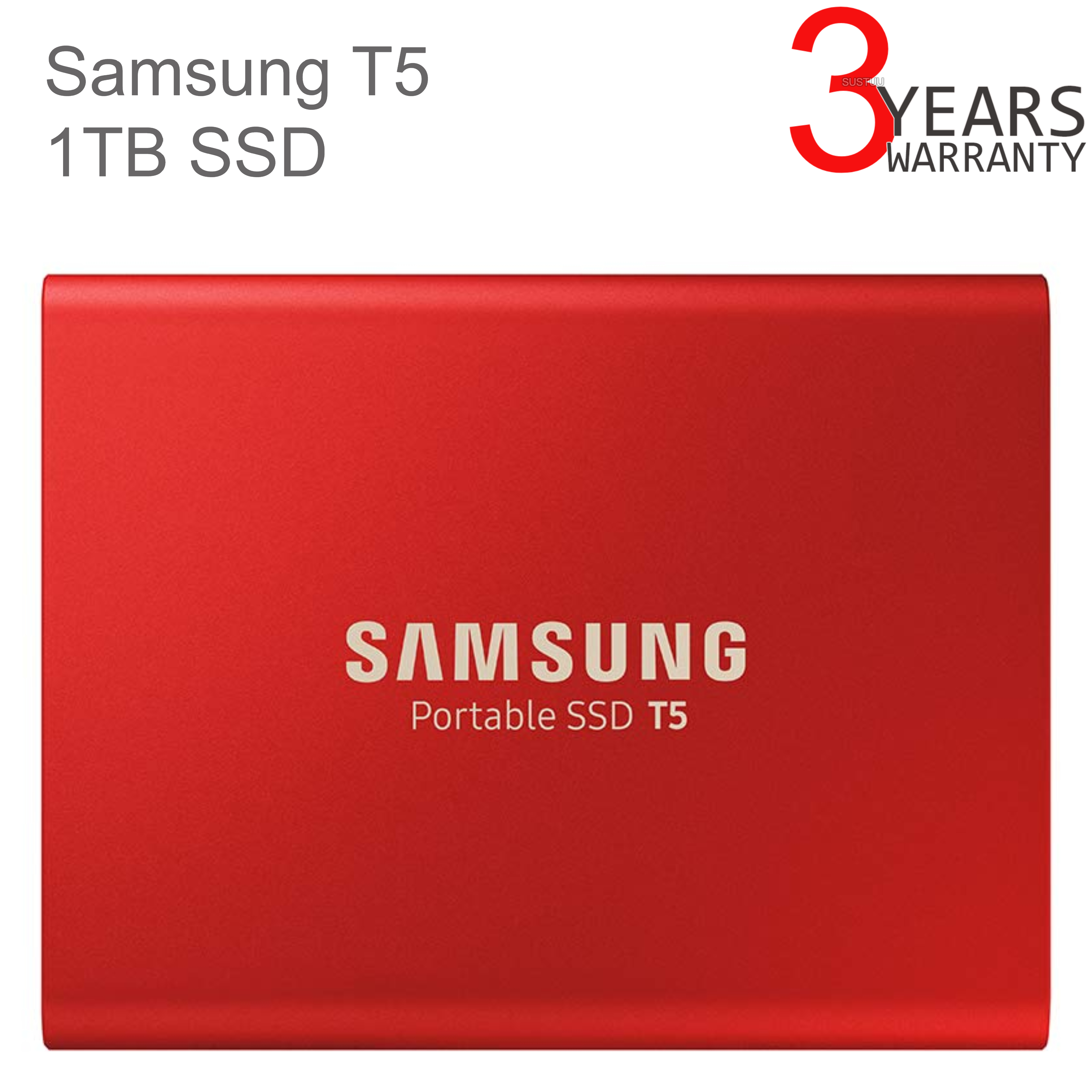 Samsung T5 1TB USB 3.1 Type-C Portable External SSD | Solid State Drive | For Desktops & Laptops | Red