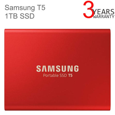 Samsung T5 1TB USB 3.1 Type-C Portable External SSD | Solid State Drive | For Desktops & Laptops | Red Thumbnail 1