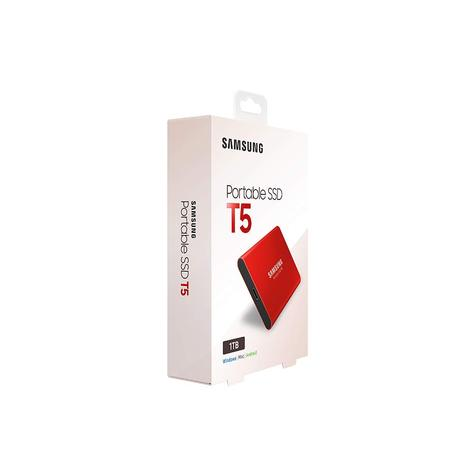 Samsung T5 1TB USB 3.1 Type-C Portable External SSD | Solid State Drive | For Desktops & Laptops | Red Thumbnail 5