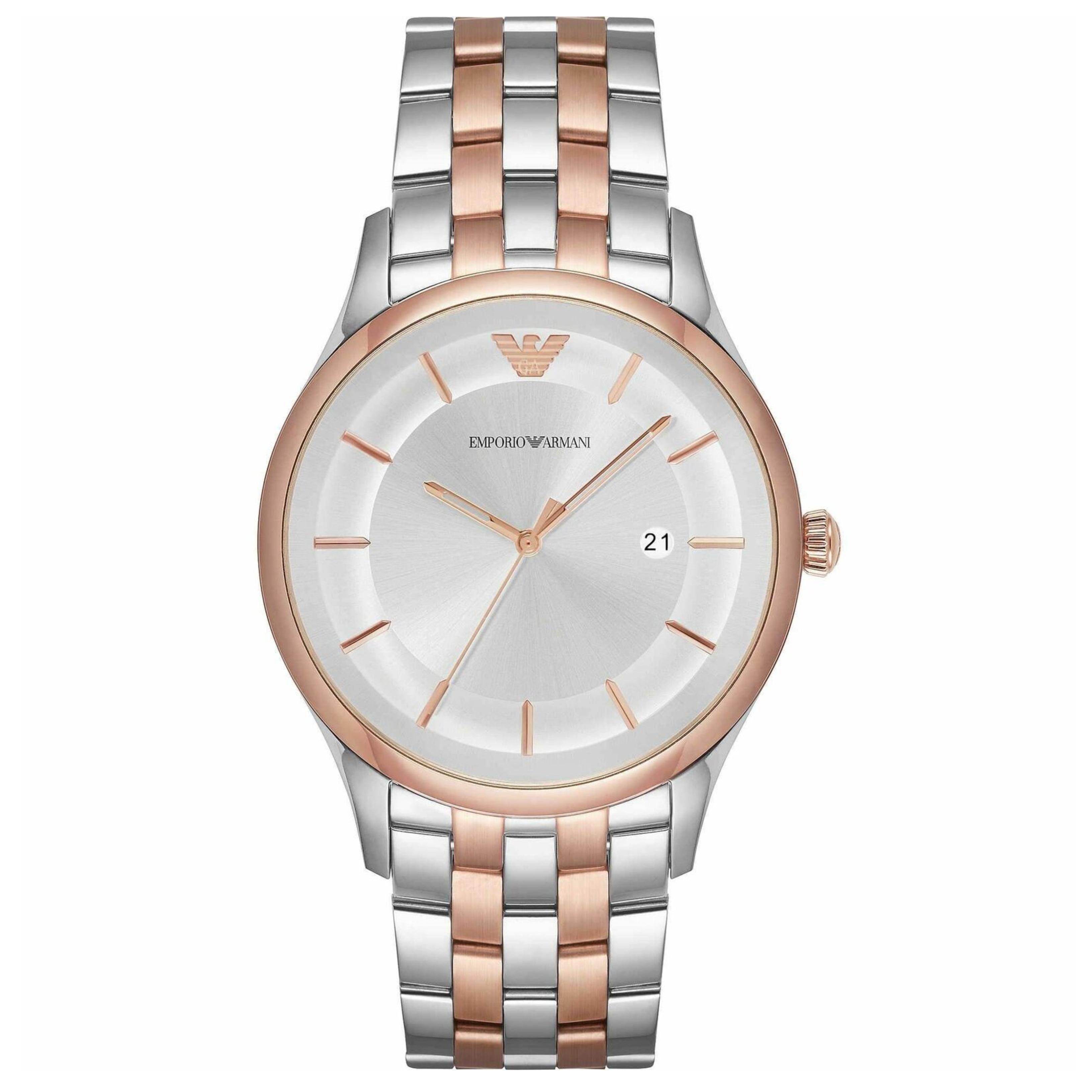 Emporio Armani Lambda Men's Watch AR11044 | Silver Dial | Dual Tone Stainless Strap