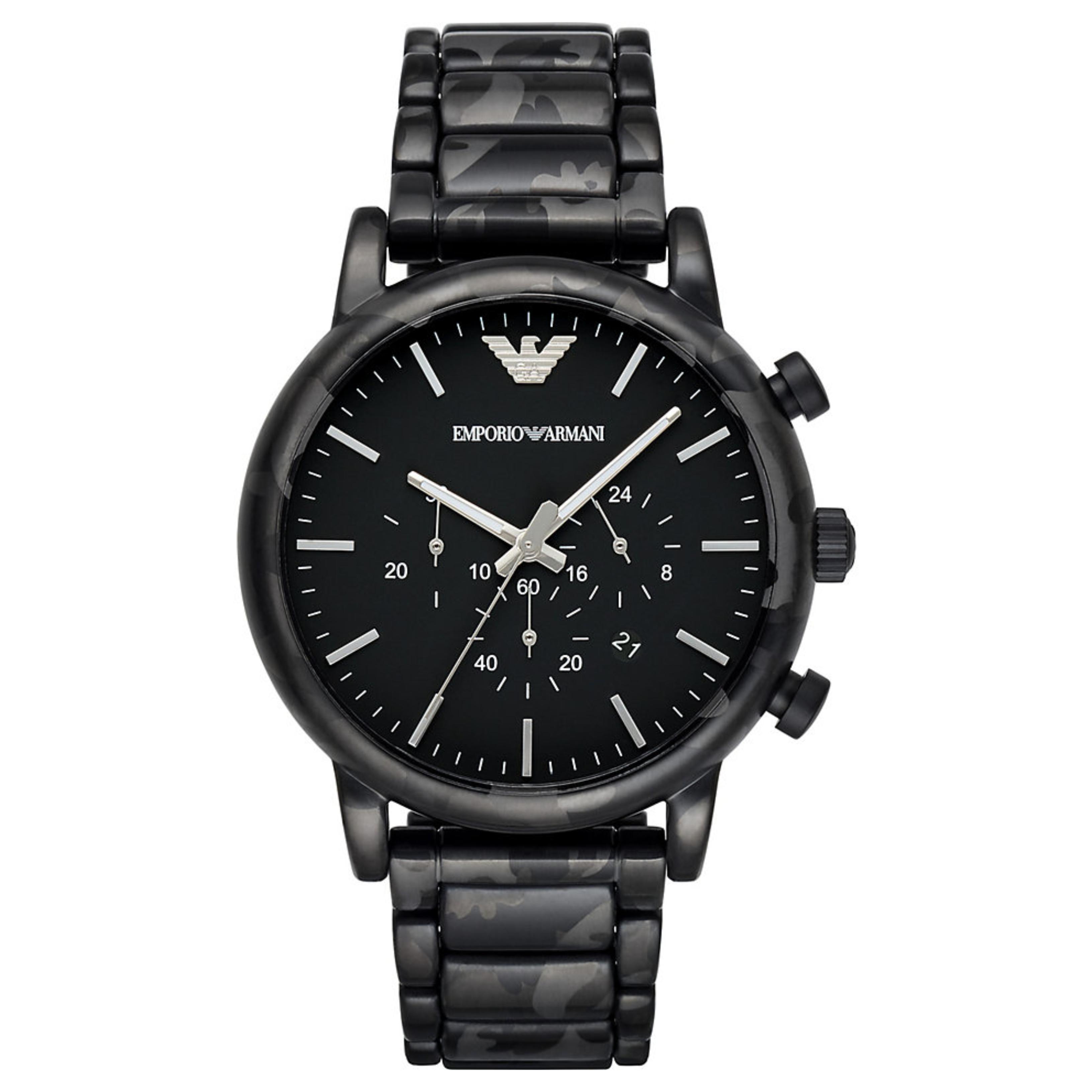 Emporio Armani Luigi Men's Watch AR11045 | Chronograph Matte Black Dial | Bracelet Strap