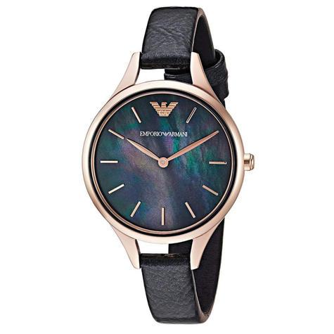 Emporio Armani Aurora Ladies Watch AR11056   MOP Dial   Slim Black Leather Strap Thumbnail 1