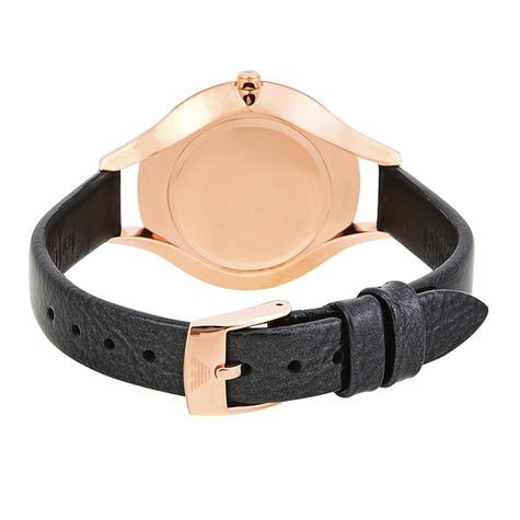 Emporio Armani Aurora Ladies Watch AR11056   MOP Dial   Slim Black Leather Strap Thumbnail 3