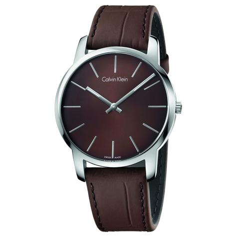 Calvin Klein City Men's Watch K2G211GK | Silver Case Brown Round Dial | Leather Band Thumbnail 1