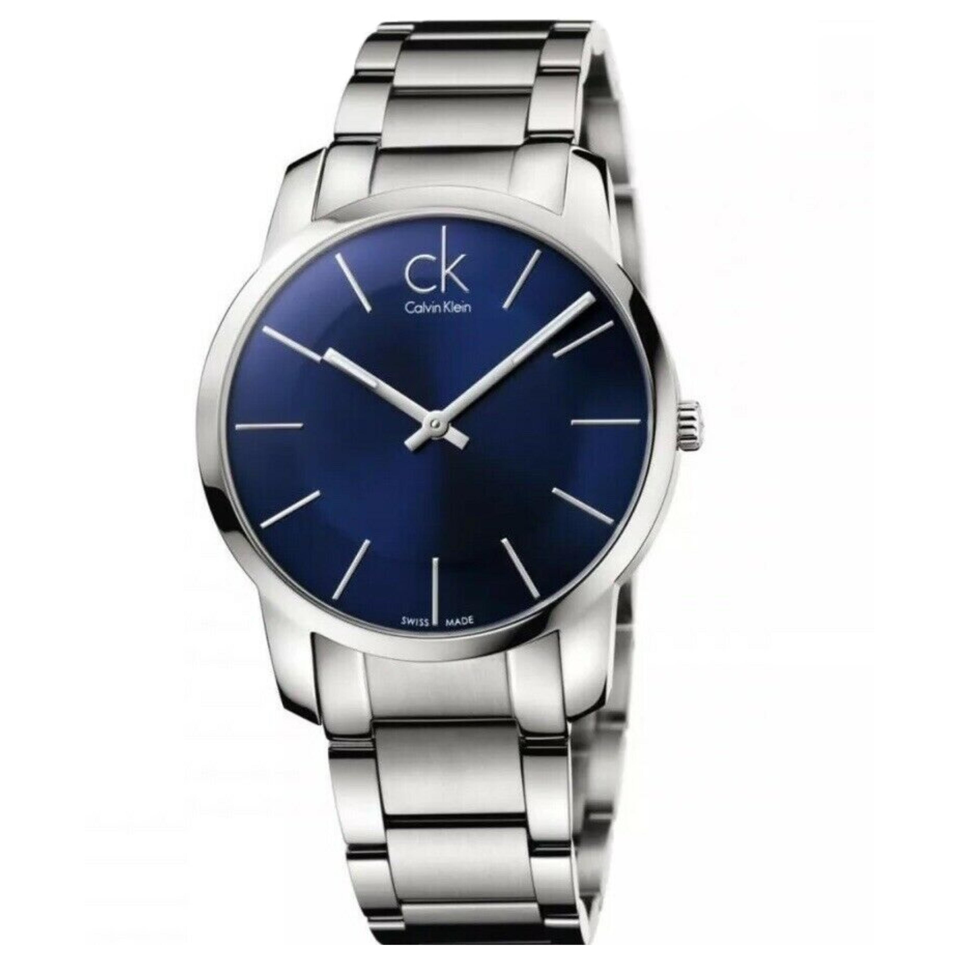 Calvin Klein City Men's Watch K2G2114N   Blue Round Dial   Stainless Steel Strap