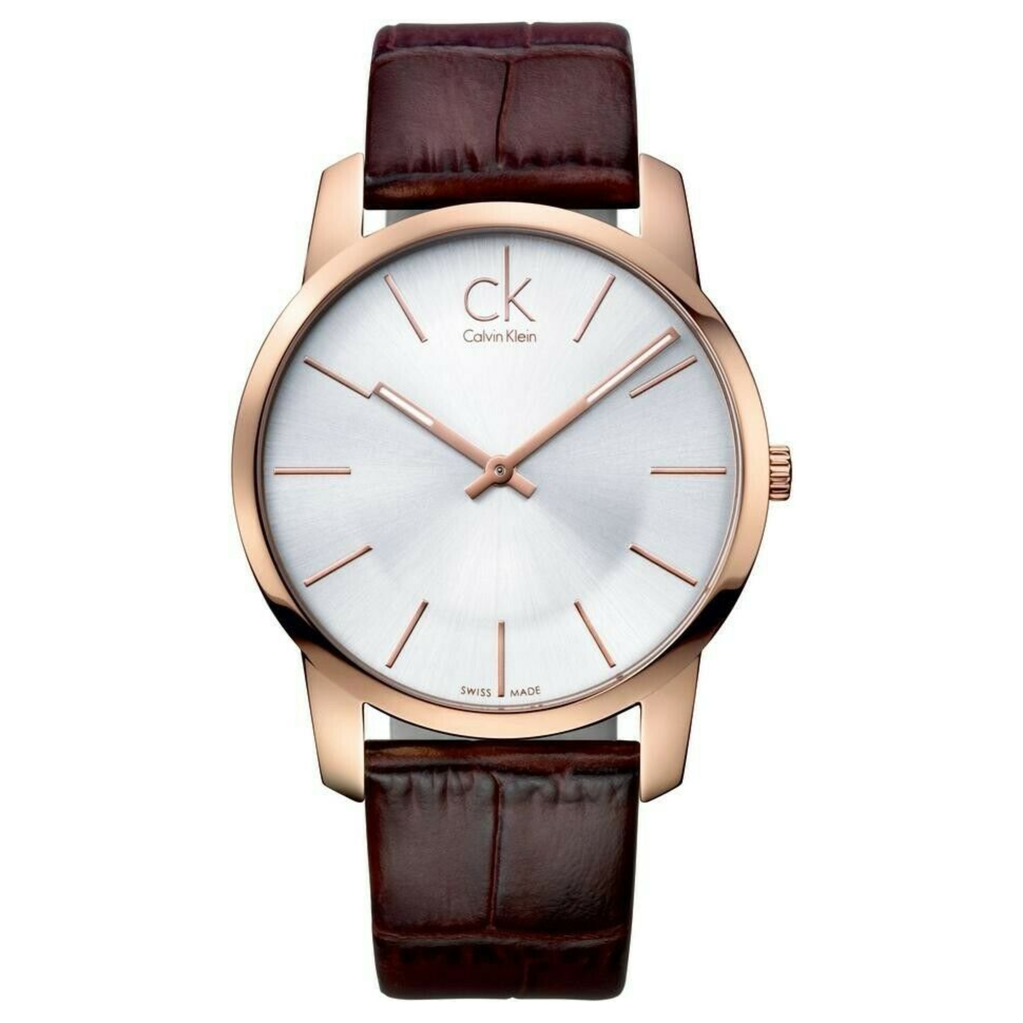 Calvin Klein City Mens' Watch K2G21629 | PVD Rose Case Silver Dial | Leather Strap